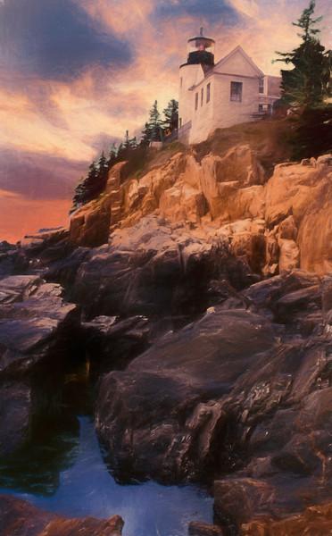 An Art Photograph of  Bass Harbor Lighthouse,Acadia Nat. Park Maine.