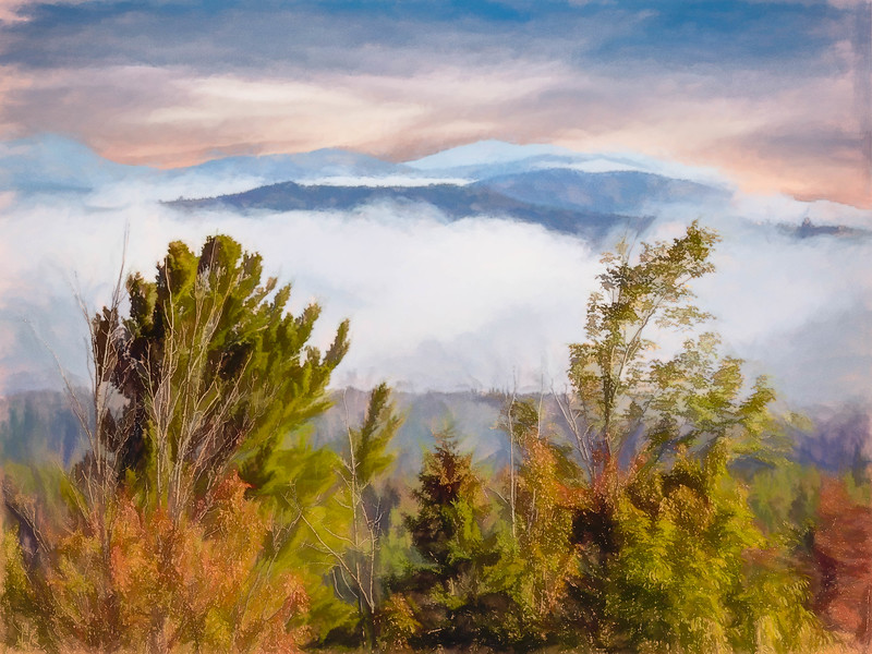 Art painting effect of the mountains of Northern New Hampshire. Early morning Fog separating the rolling mountains.