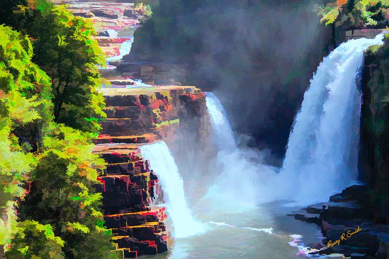 Three waterfalls Ausable Chasm. Grand Canyon of the Adirondacks
