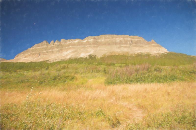 A art rendition of Flat Top Mountain. Western Montana.