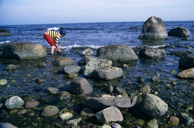 Young boy playing on rocky ocean beach