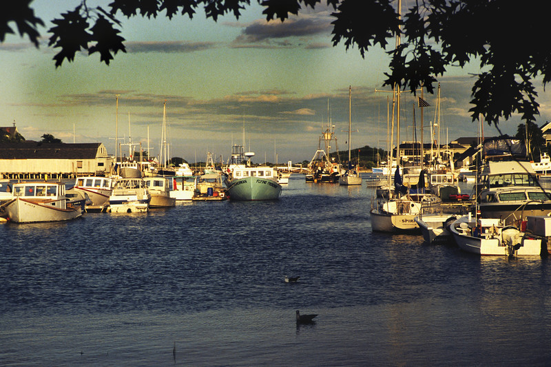 Horizontal stock photograph showing a  scenic late afternoon view of the boats in York Harbor Maine.