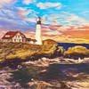 A Digital Art photograph of the Portland Head Light.