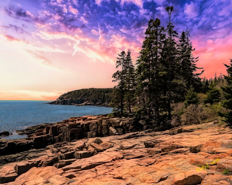 Distant view of Otter Cliffs,Acadia National Park,Maine.