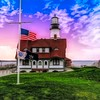 Front view of Portland Head Light,Portland Maine.