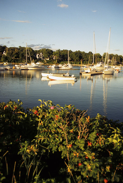 Late afternoon view of the boats in York Harbor Maine.