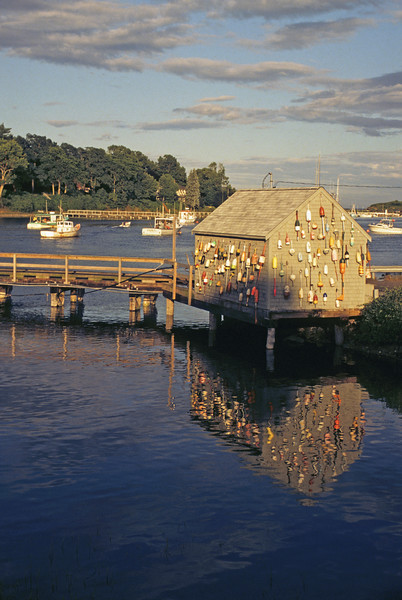 A vertical stock photo of a lobster shack setting on stilts in York Harbor Maine. Shack is covered with colorful buoys.