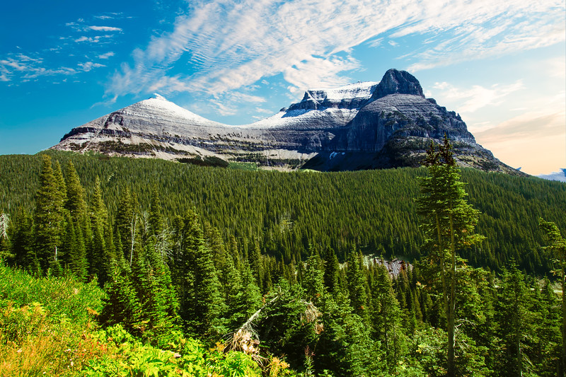 A horozontal stock photograph of a mountain view from the going to the sun road.East Glacier Nat. Park