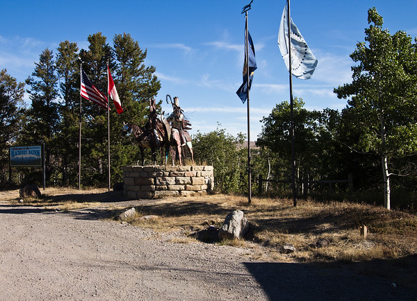 A horizontal stock photograph of the Blackfeet Indian Nation Monument near Glacier Nation Park Montana