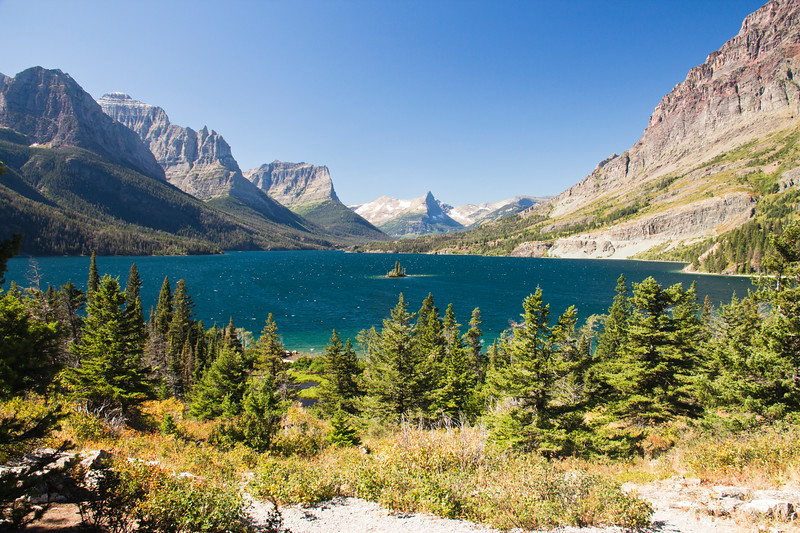 A horizontal stock photograph of Wild Goose Island. St. Marys lake east glacier area of Glacier Nat. Park,Montana.