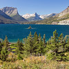A horizontal stock photograph of Wild Goose Island,St. Marys Lake in east glacier National park. Montana