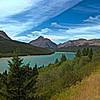 A landscape art photograph of Lake Sherburne,Glacier Nat. Park.Many Glaciers area.
