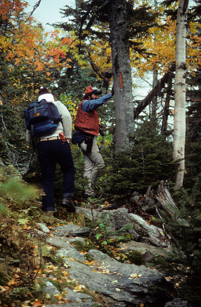A vertical stock photograph of two young men hiking a rocky trail.Showing autumn foliage in the White Mountains of New Hampshire..