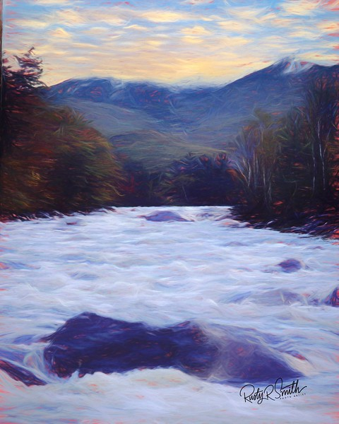 Fast flowing Swift River, in White Mountains of New Hampshire.