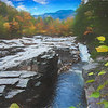 An autumn view of the Swift River, lower falls area White Mountains New Hampshire.