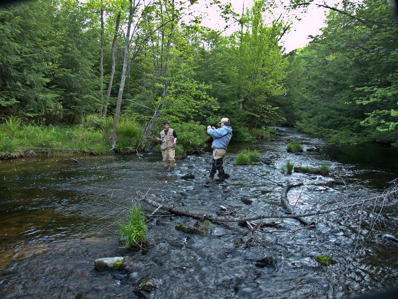 A horizontal stock photograph of A middle aged man and a teenage boy enjoy trout fishing in Black Moshannon stream. Black Moshannon State Park Pennsylvania
