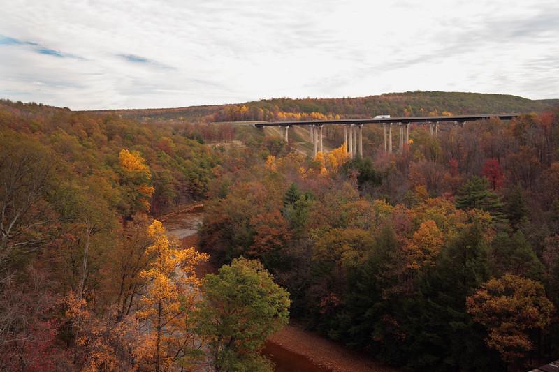 A horizontal Stock Photograph of the interstate 80 viaduct bridge near Snoeshoe Pennsylvania.