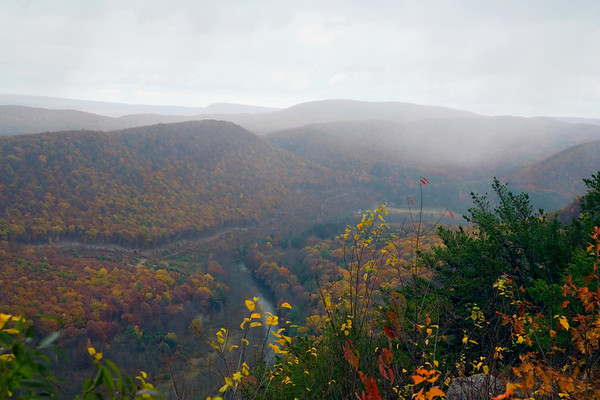 A horizontal stock photograph of a scenic view from Hyner view State Park of the west branch Susquehanna River,Pennsylvania.