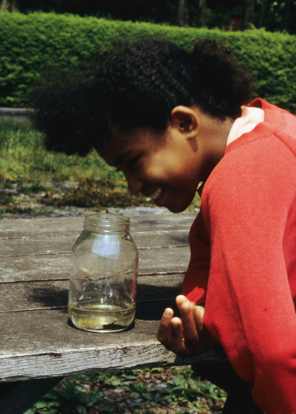 A vertical stock photo of a preteen filipino american, african american girl staring and smiling looking into a jar containing a baby catfish.