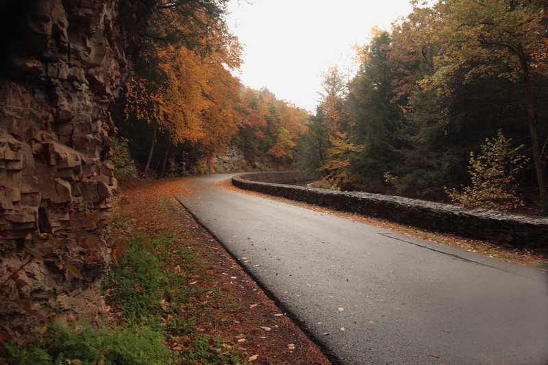 A horizontal Stock Photograph of a wet fall day in Trough Creek State Park Pennsylvania.