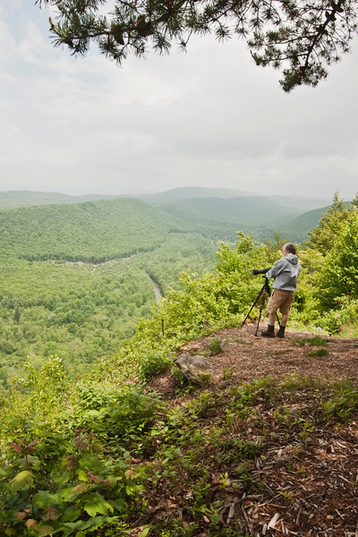 A vertical stock photograph of a photographer looking out on a view of Penns Valley, Pennsylvania.