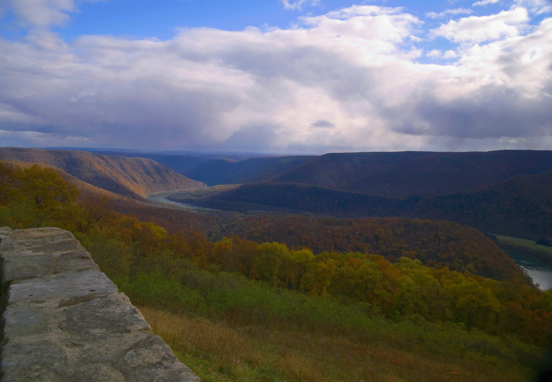 A horizontal stock photograph of a scenic view from Hyner view State Park of the west branch Susquehanna River,Pennsylvania