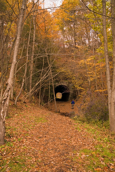 A vertical stock photograph of A woman looking into an abandoned railroad tunnel near Penns Valley Pa.