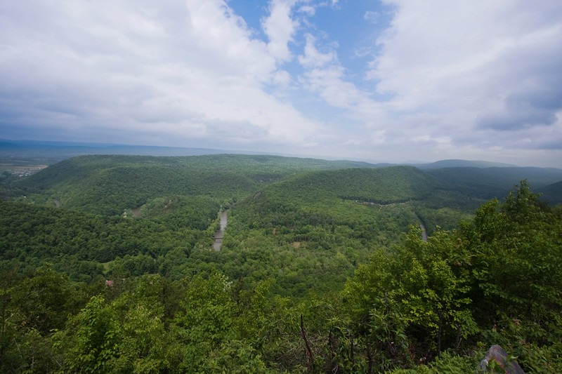 A horizontal stock photograph of a scenic summer view of Penns Valley in central Pennsylvania.