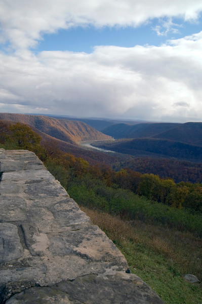 A vertical stock photograph of a scenic view from Hyner view State Park of the west branch Susquehanna River,Pennsylvania.