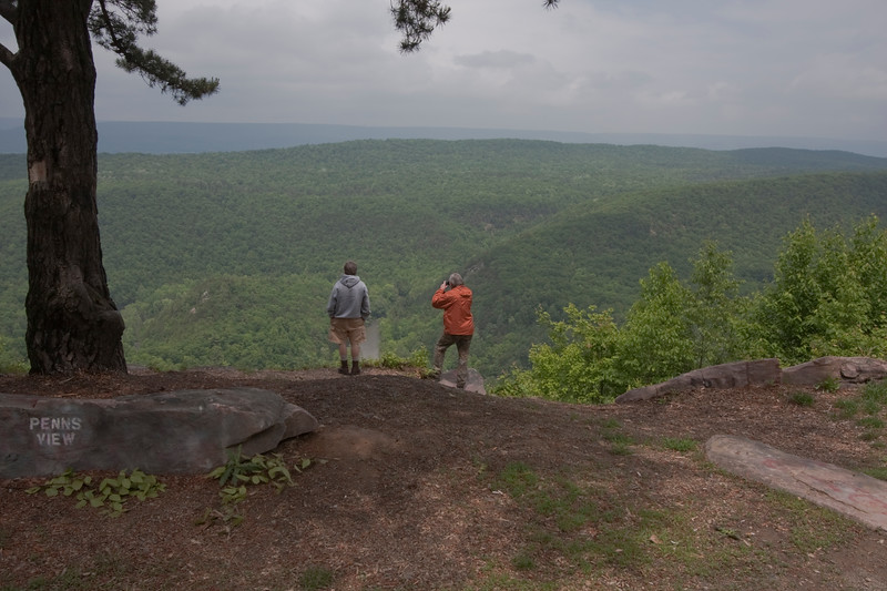 Two men enjoy the view of Penns Valley in Central Pennsylvania.