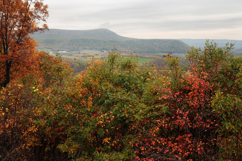 A horizontal stock photo 0f a scenic view showing a farming valley near Tyrone Pennsylvania. Beautiful Fall foliage in the foreground.