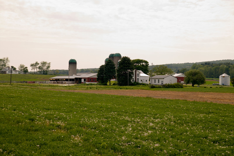 A horizontal stock photograph of a working dairy farm in central Pa. a scenic view on a summer day.