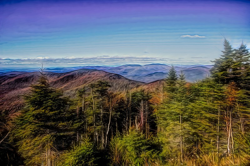 A view from Mt. Equinox Vermont toward the Adirondack Mountains New York.