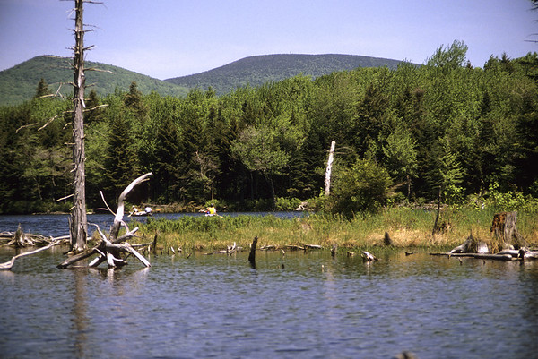 A horizontal stock photograph of two canoes on a grout pond in Southern Vermont.