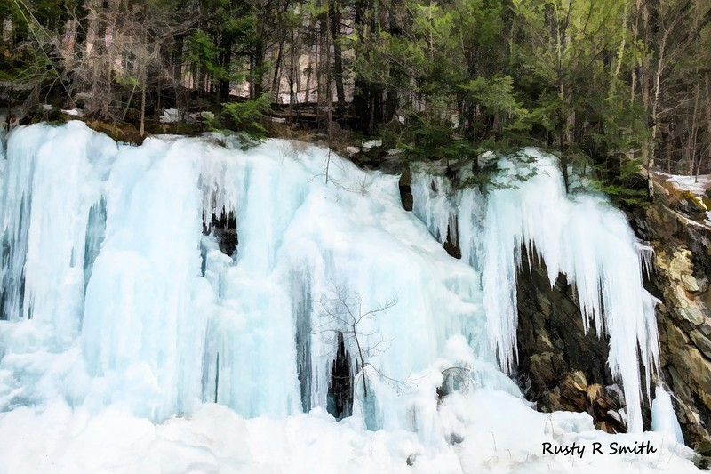 Early Spring Cliff ice flow Southern Vermont.