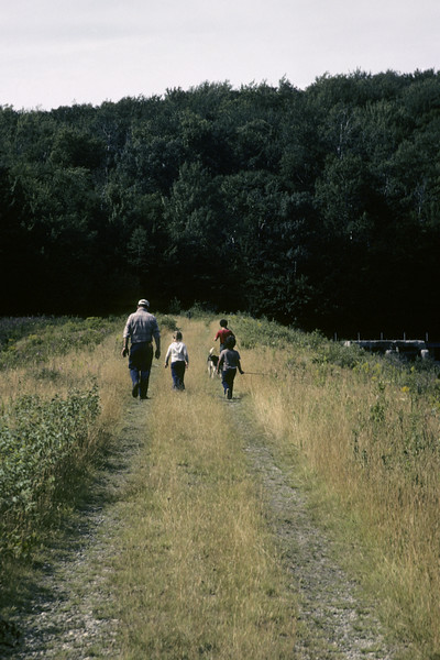 A stock photograph of a Father,children and family dog walking  on the earth dam at Somerset Reservoir,southern Vermont.