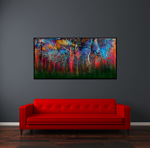 """Mystery Forest 60""""x30"""" Black Aluminum Artbox Frame with Matte Acrylic Glass"""