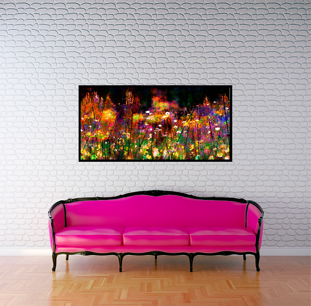 "Woodland Flowers 48""x24"" Black Aluminum Artbox Frame with Matte Acrylic Glass"