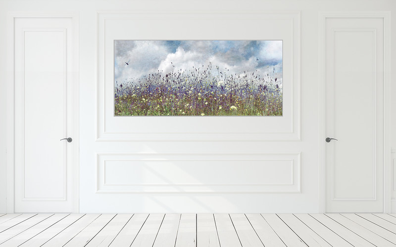 "Wildflowers 70""x35"" Silver Aluminum Artbox Frame with Matte Acrylic Glass"