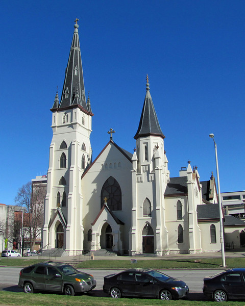 St Mary's Catholic Church across the street from the Nebraska State Capitol Building in Lincoln, Nebraska.