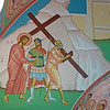 North transept. Simon of Cyrene carries Christ's cross to Calvary
