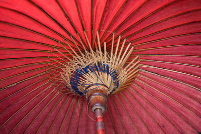 Burmese umbrella that has travelled a long way and survived.