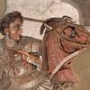 Alexandre, o Grande, em Mosaico de Pompéa no Museu Arqueológico de Nápoles
