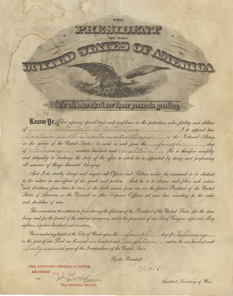 Stowell 's Military Certificate for Captain