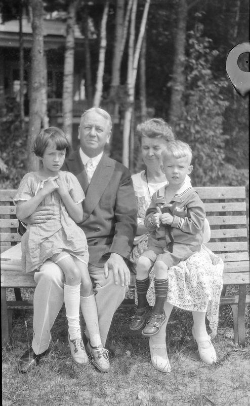 #1 Arthur & Anna B Stebbins with Girl & boy on laps Roaring Brook