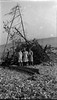 43-m Three girls by Roaring Brook bonfire woodpile