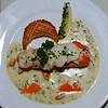 A nice supreme of salmon topped with scallops and nestled in a bed of champagne sauce!!! And note the presentation...not that you can eat presentation!  But it does add to the overall enjoyment of the dish...