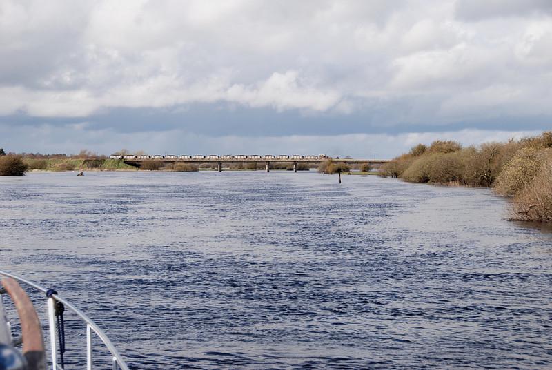 A long shot showing the Bord-na-Mona bridge