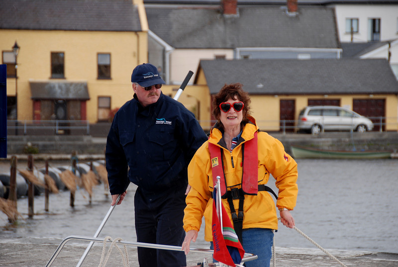 Patricia doing the ropes on 'This Way Up' under the watchful eye of lock-keeper,Tim Cconnolly.