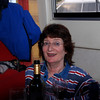 Patricia Williams ('This Way Up') enjoying a glass of wine onboard 'Nashia' on saturday evening.